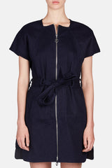 Twill Short Sleeve Dress - Indigo