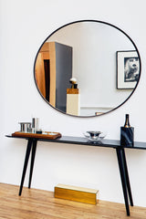 "Suede-Framed 48"" Mirror - Grey"
