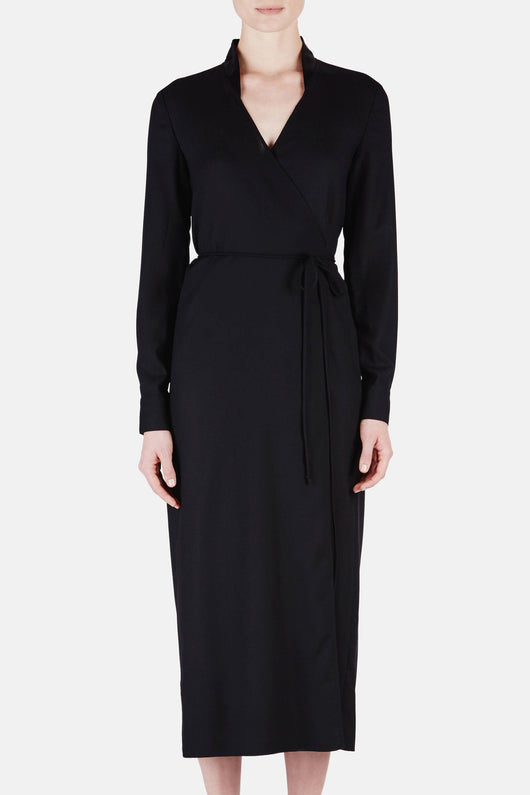 Dress 14 Wrap Dress with Bias Slip - Black