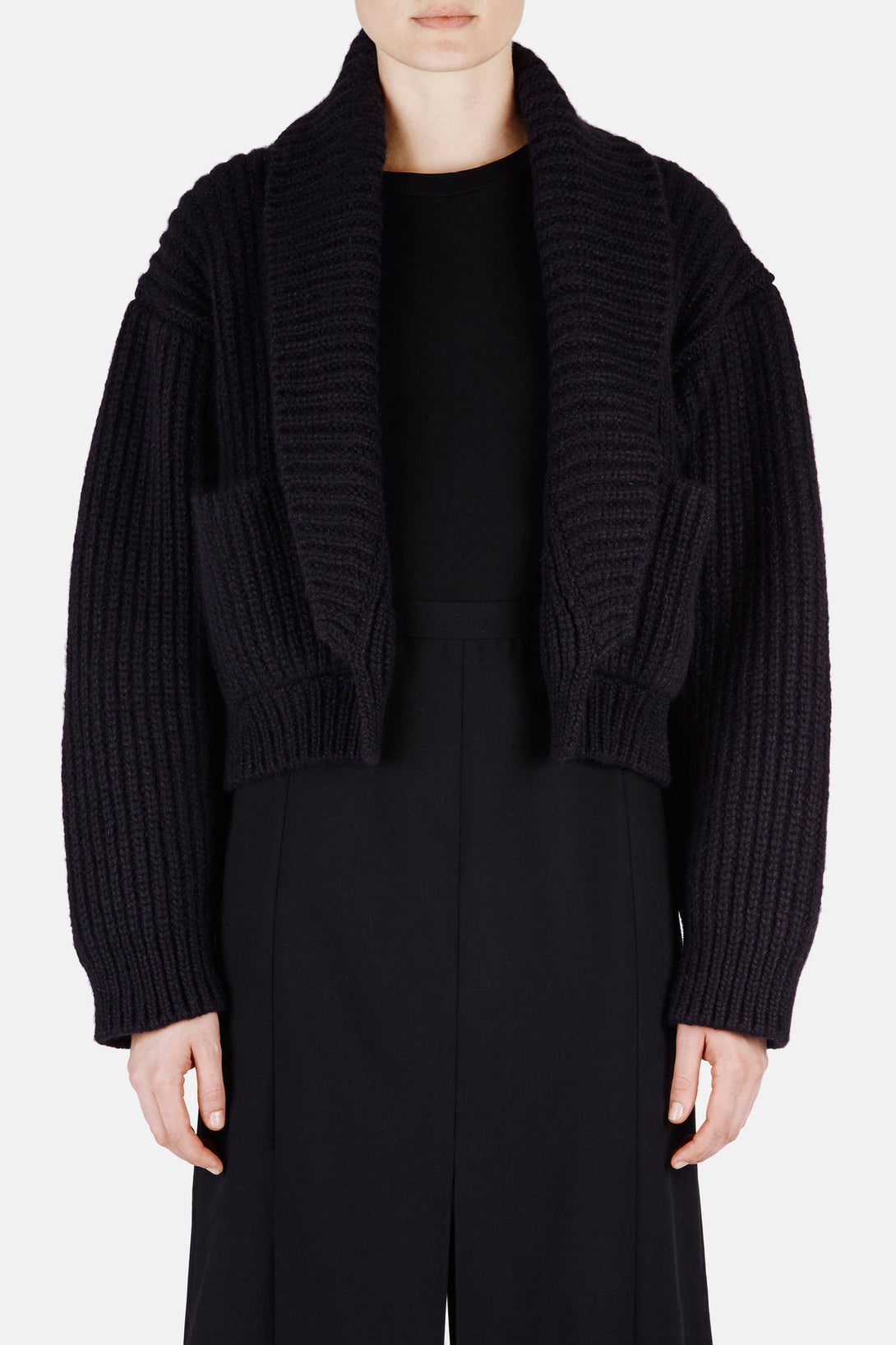 Sweater 13 Shawl Collar Ribbed Jacket - Black