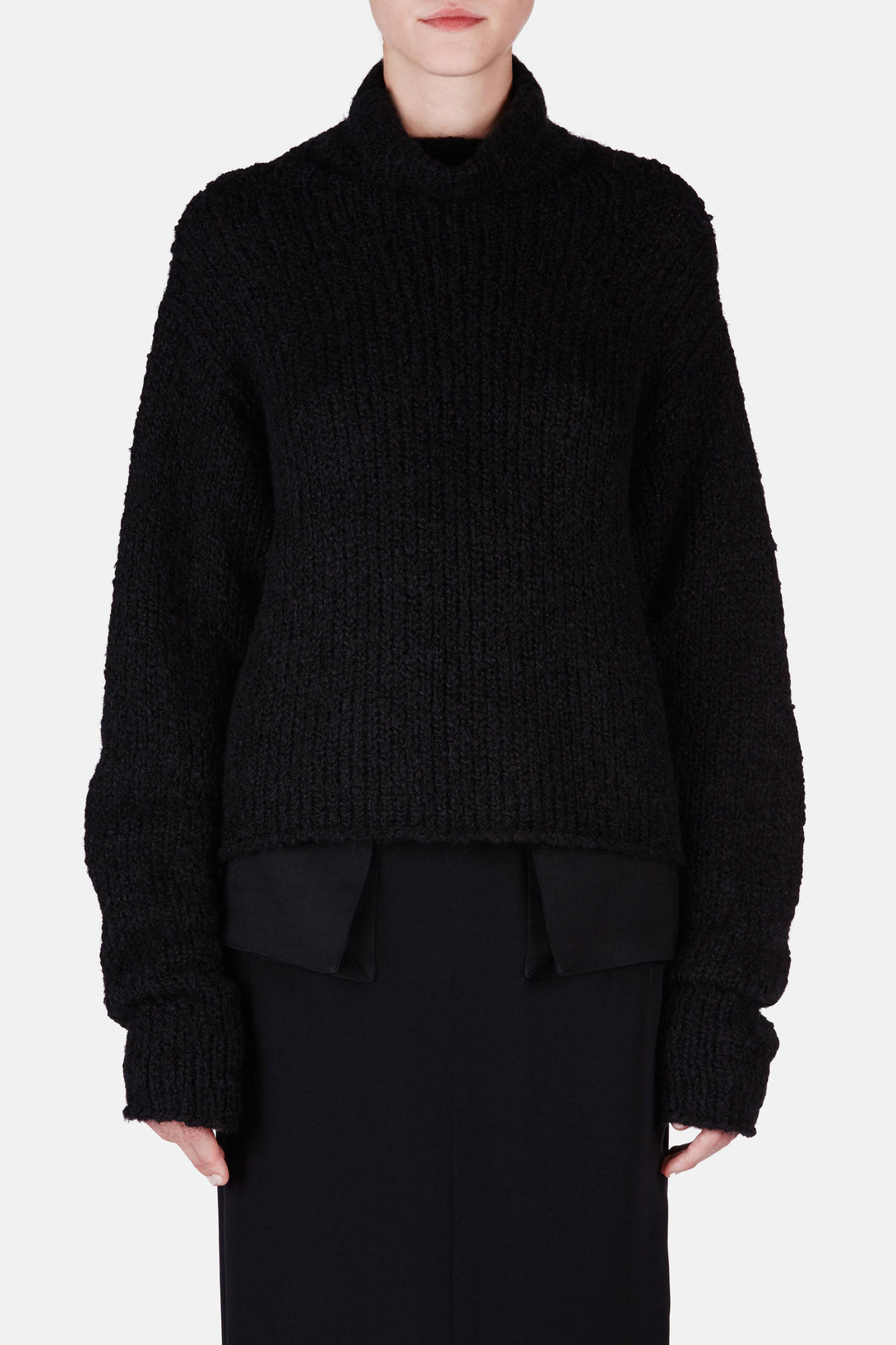 Sweater 10 Exposed Back Turtleneck Sweater - Black