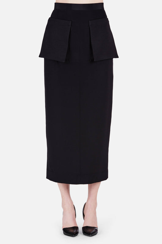 Skirt 13 Front Patch Pocket Skirt - Black
