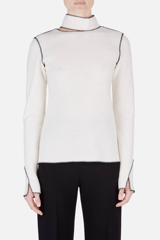 Shirt 14 Merrow Deconstructed Turtleneck Top - Ivory