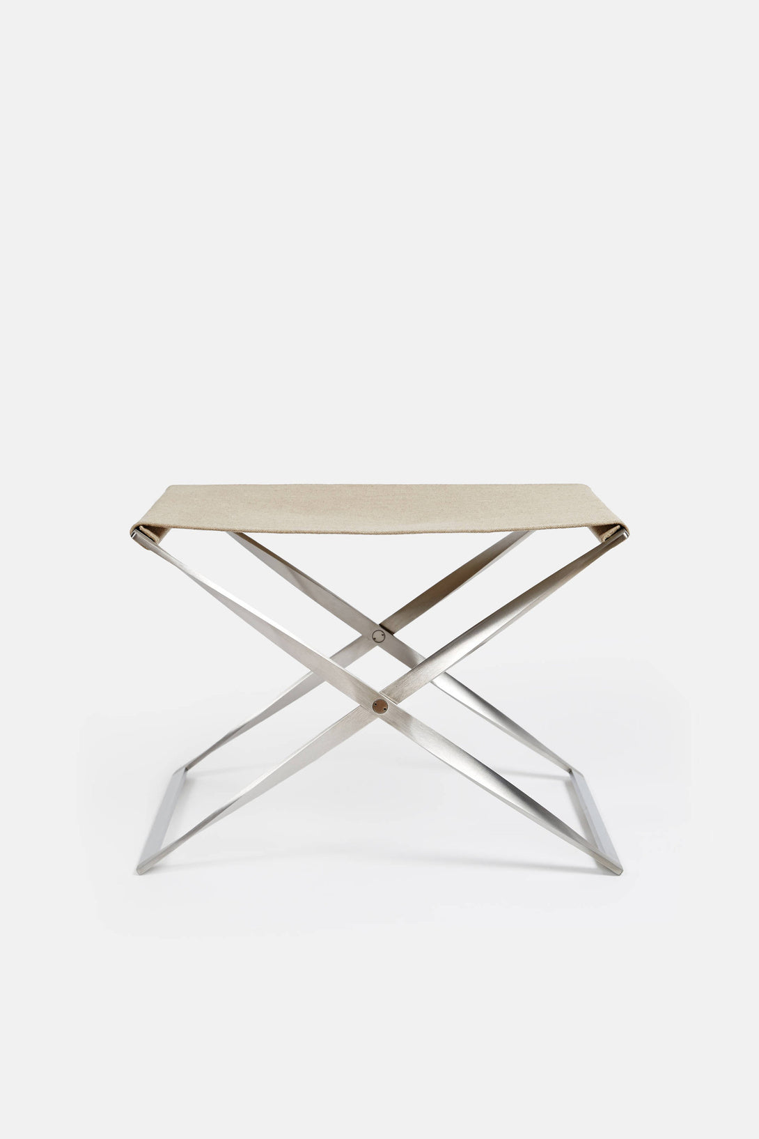 PK91 Folding Stool Satin Brushed Stainless Steel Canvas – The Line