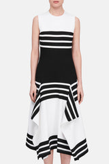 Fitted Scarf Hem Dress - Black/White