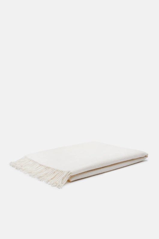 Fringed Alpaca Throw - Ivory