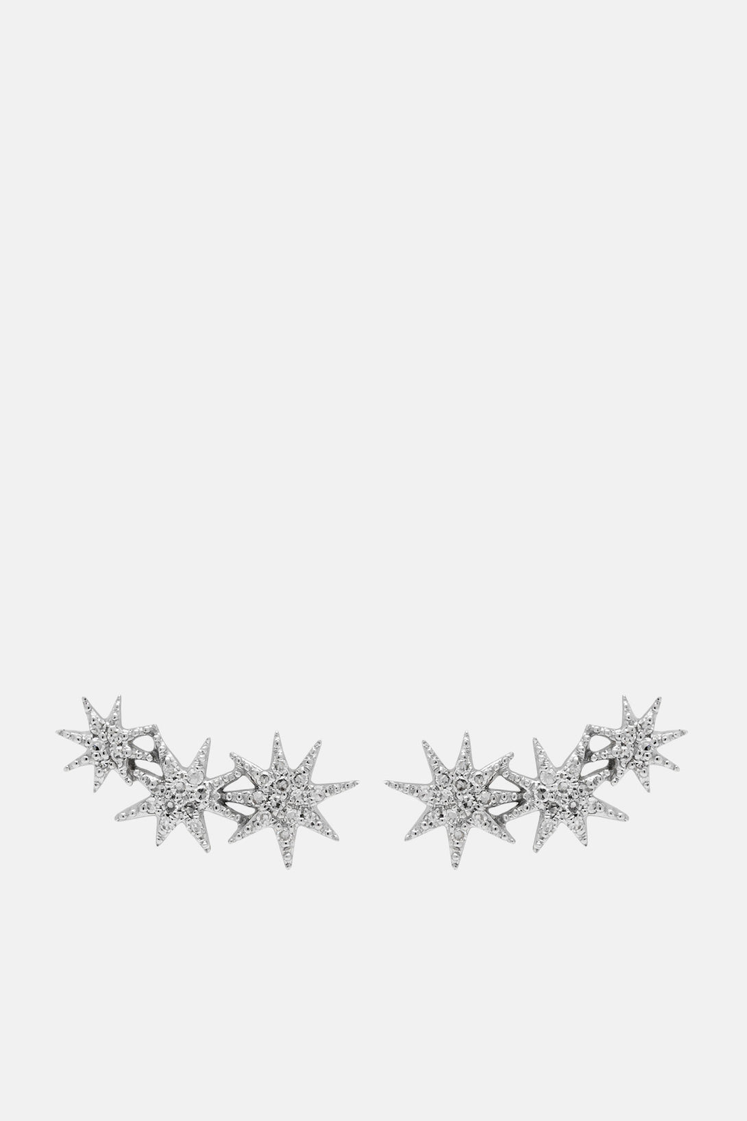 Pave Triple Shooting Star Earrings - White Gold