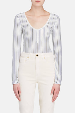 Laurie Bodysuit - Ivory with Blue Stripe