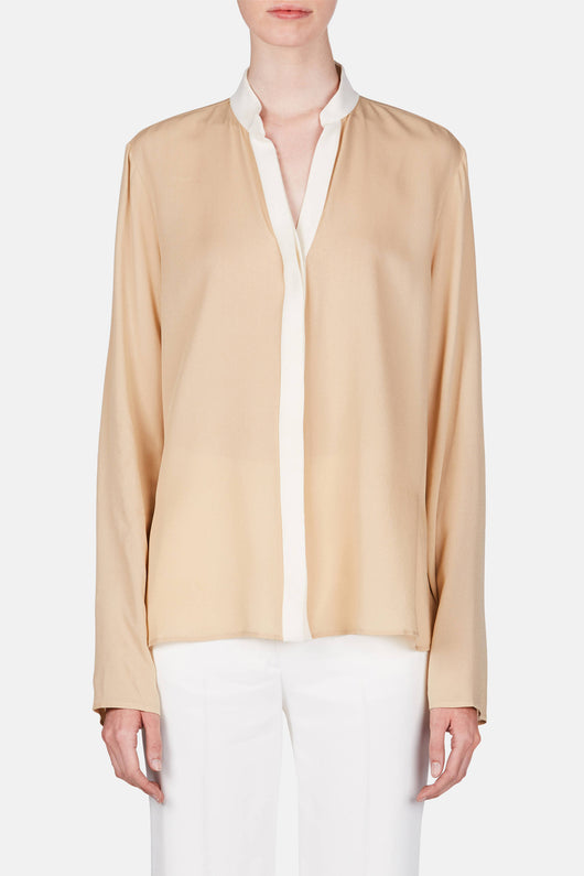 Georgia Combo Placket Shirt - Nude