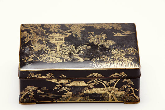 Japanese Patinated and Gold Inlaid Rectangular Box
