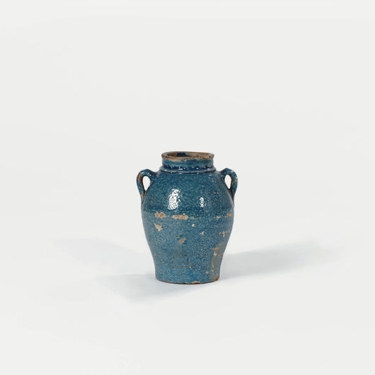 Ancient Style Blue Glaze Pottery Jar with Handles