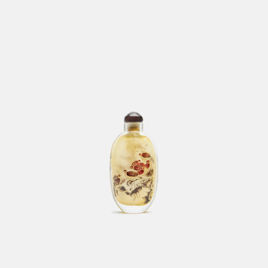 Chinese Glass Snuff Bottle With Bird Decorations