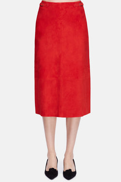 Hewitt Suede Skirt - Red