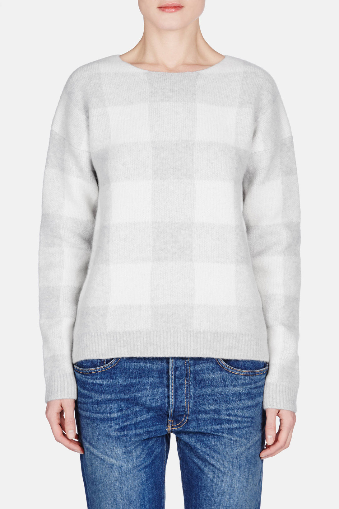 Gingham Crew - Grey/White
