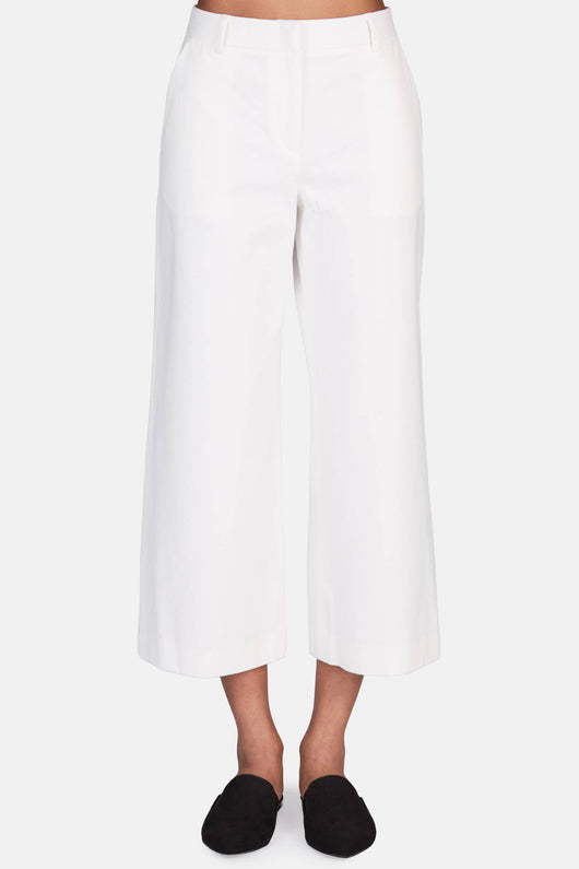 Cropped Wide Leg Pant - White
