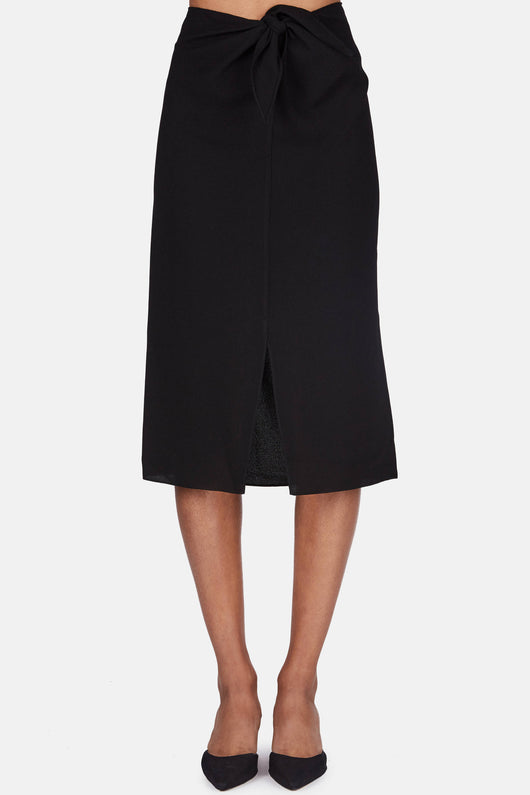 Front Wrap Skirt - Black