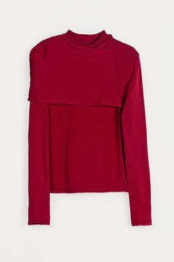 Ruched Long-Sleeved Wrap Crewneck - Red