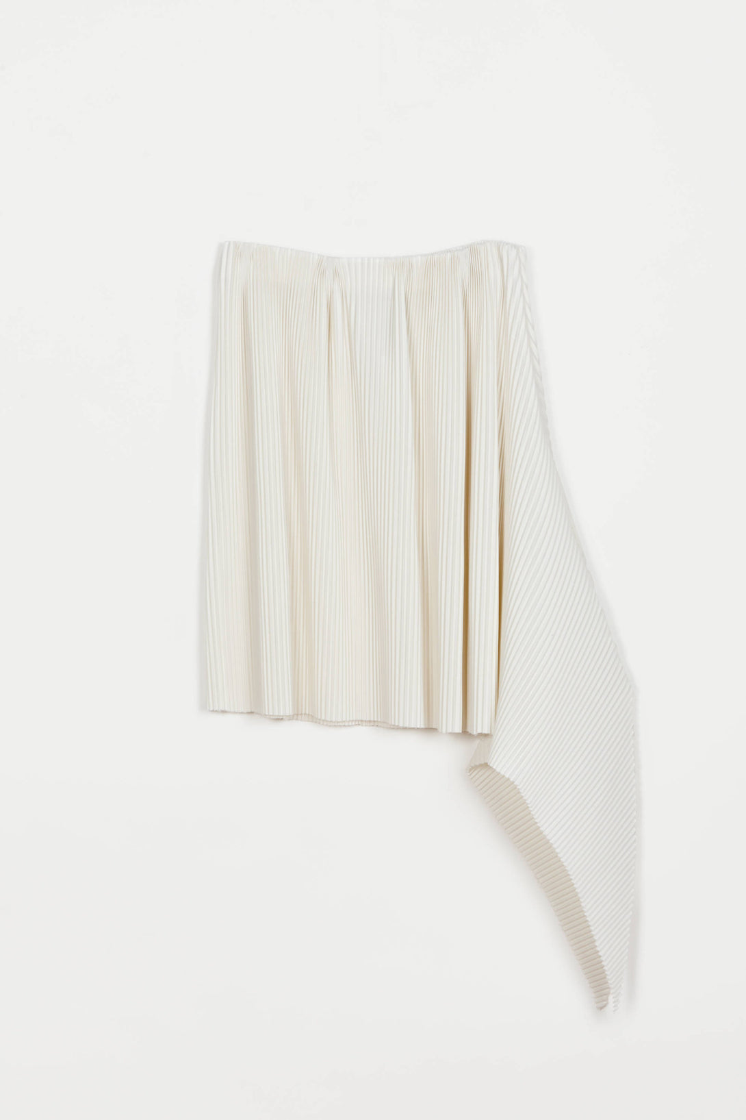 Pleated Wool Fishtail Skirt - Ivory