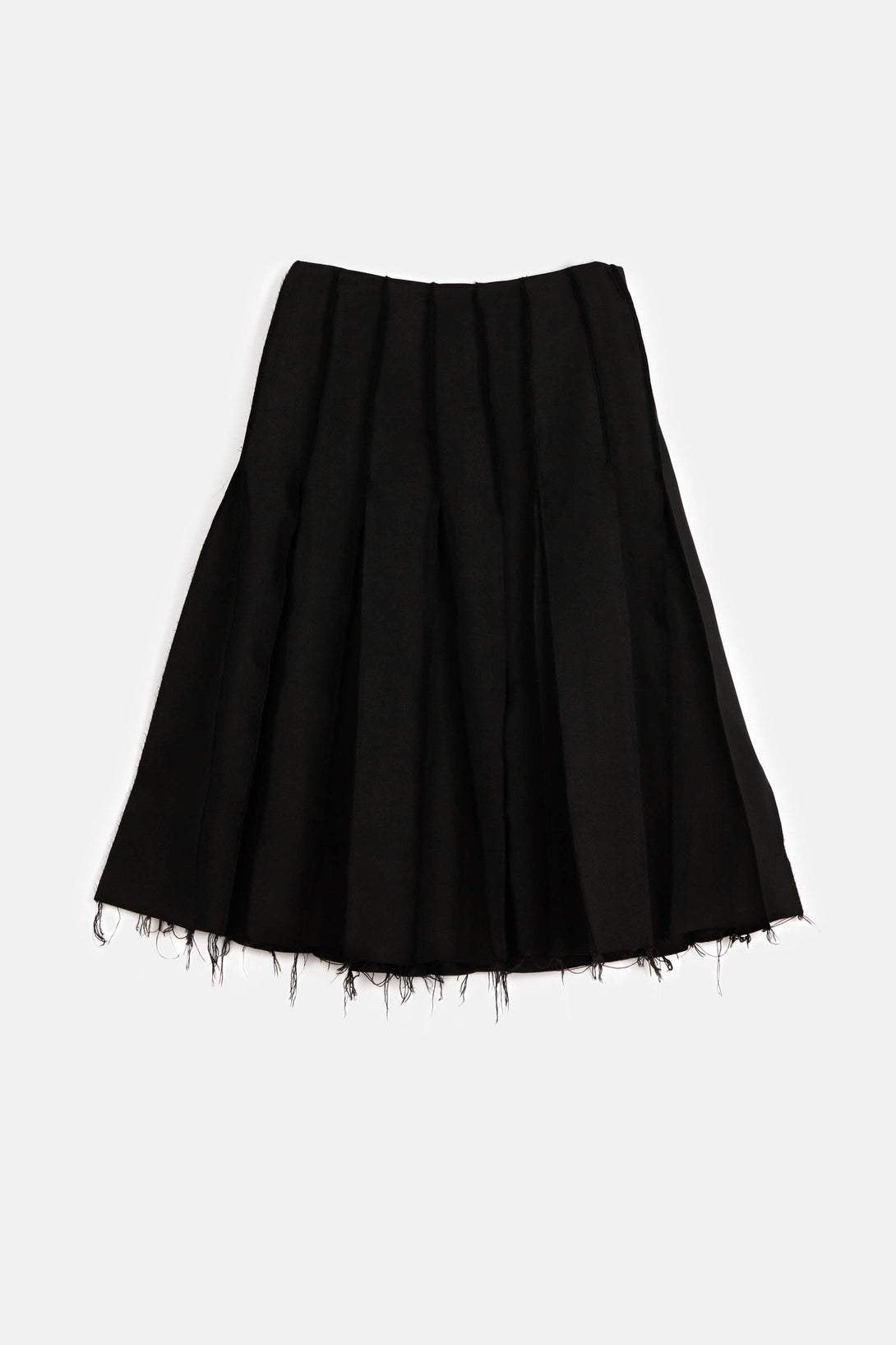 Silk Canvas Reverse Seam Skirt - Black Silk Canvas