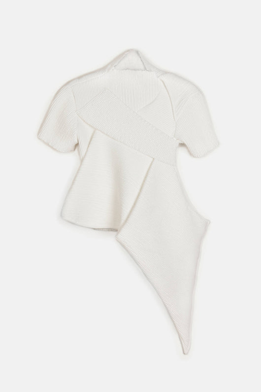 Smocked S/S Folded Top - White