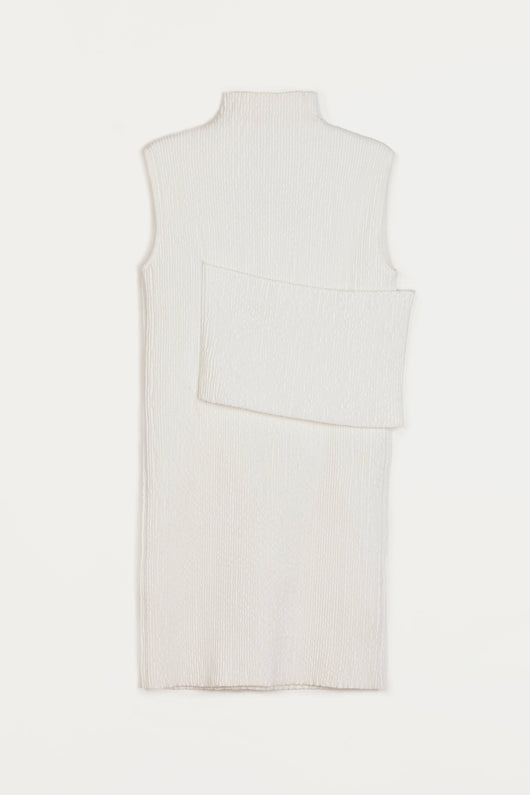 Smocked Sleeveless Banded Dress - White