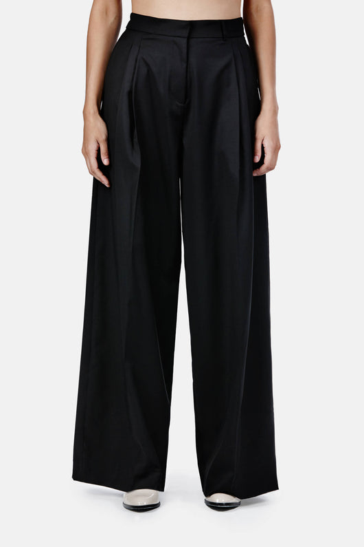 Wool Bag Trouser - Black Wool