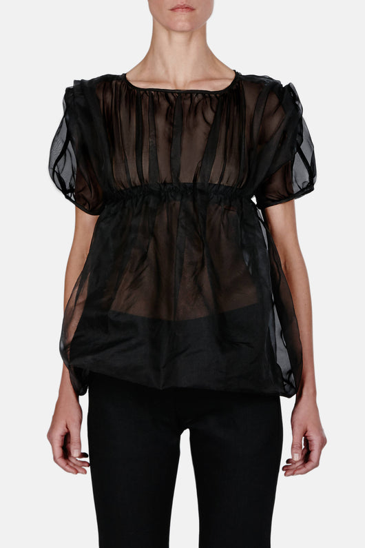 Gathered Balloon Top - Black