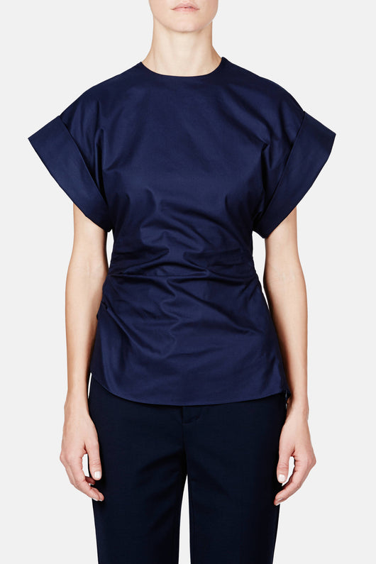 Enlarged Cap Sleeve Shirt - Navy