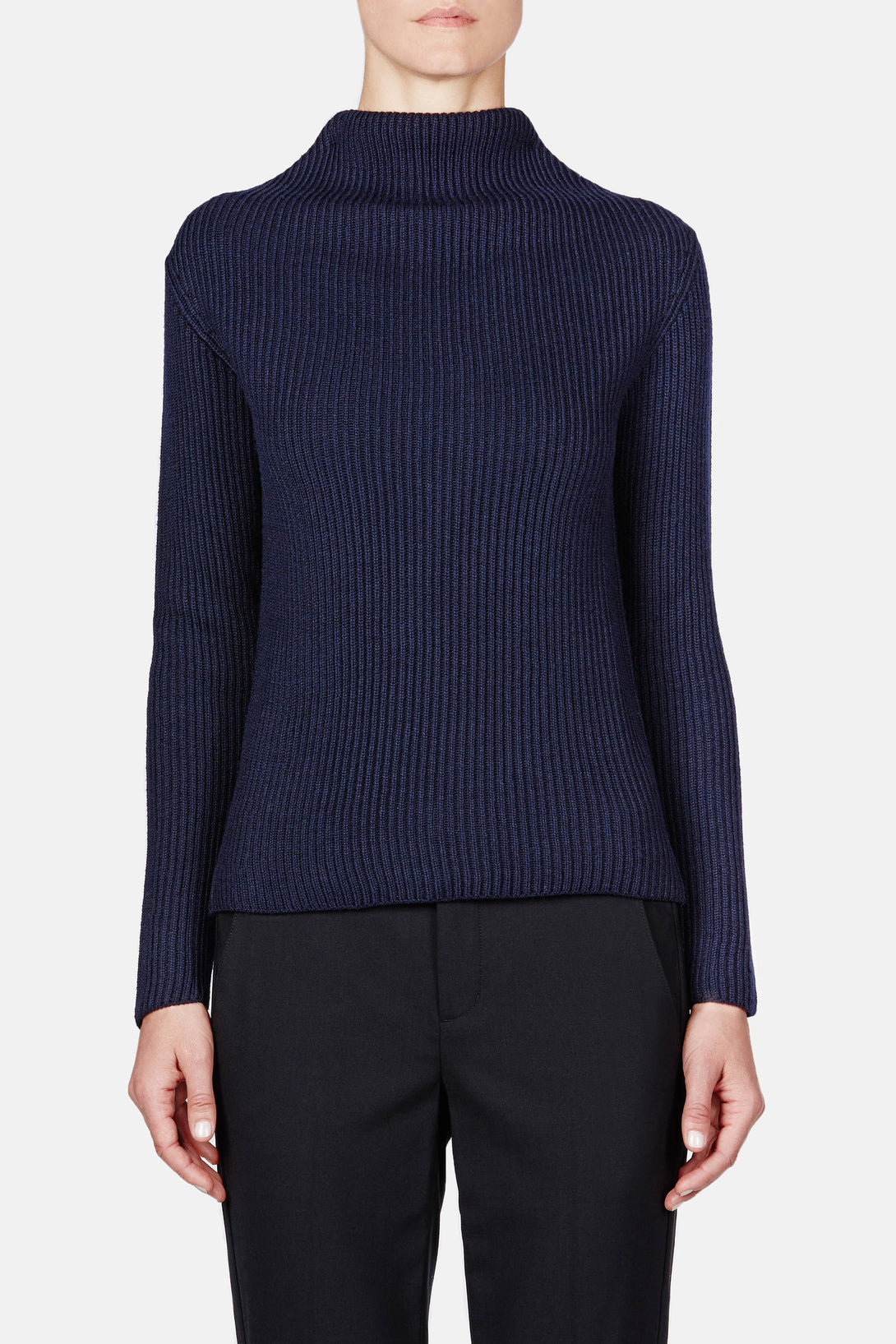 Folded Neck Sweater - Navy