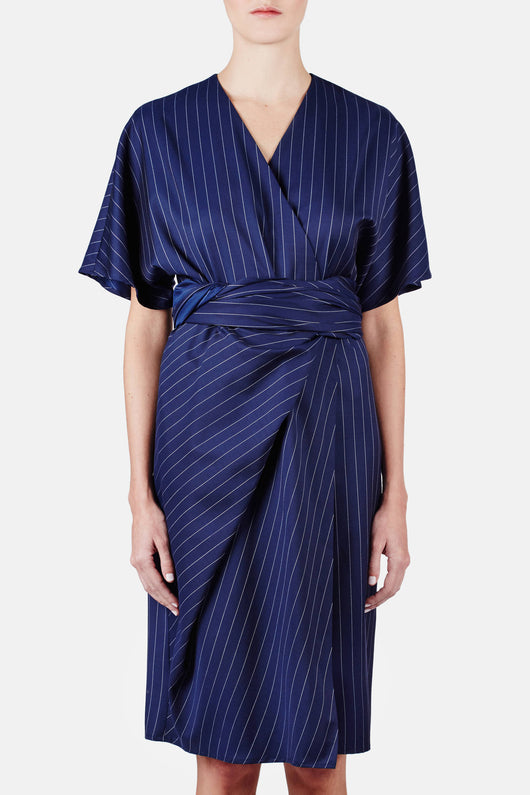 Wrap Drape Dress - Royal Blue