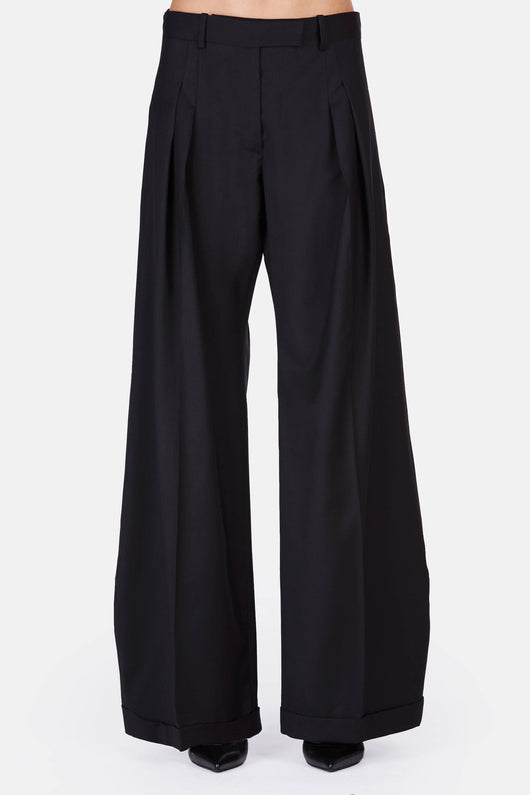 Wool Bag Trouser - Black