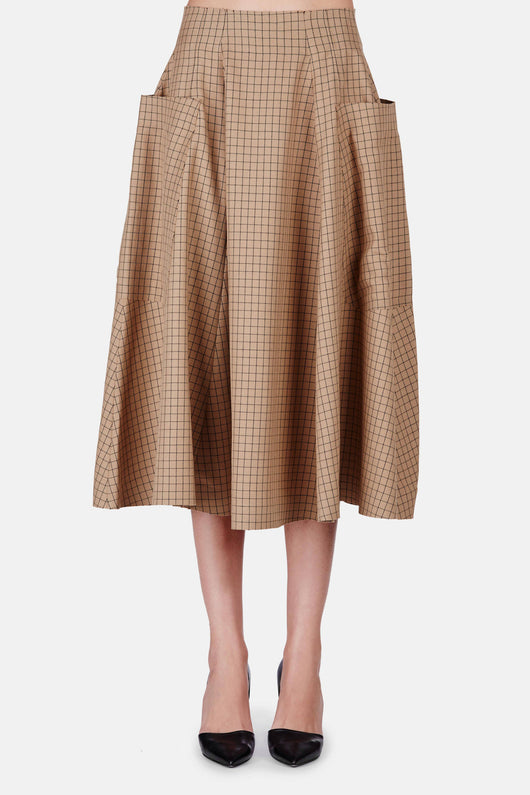 High Waist Full Skirt - Camel