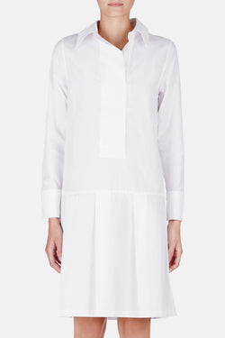 Shirt Dress with Pleats - Optic White