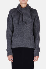 Chunky Sweater with Scarf - Grey