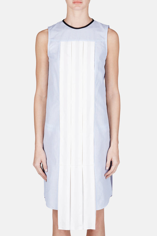 Pleat Insert Shirt Dress - Blue/White