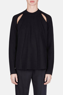 Pleat Front Raglan Sweater - Black