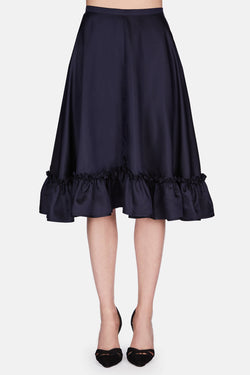Ruffled Hem Full Skirt - Navy