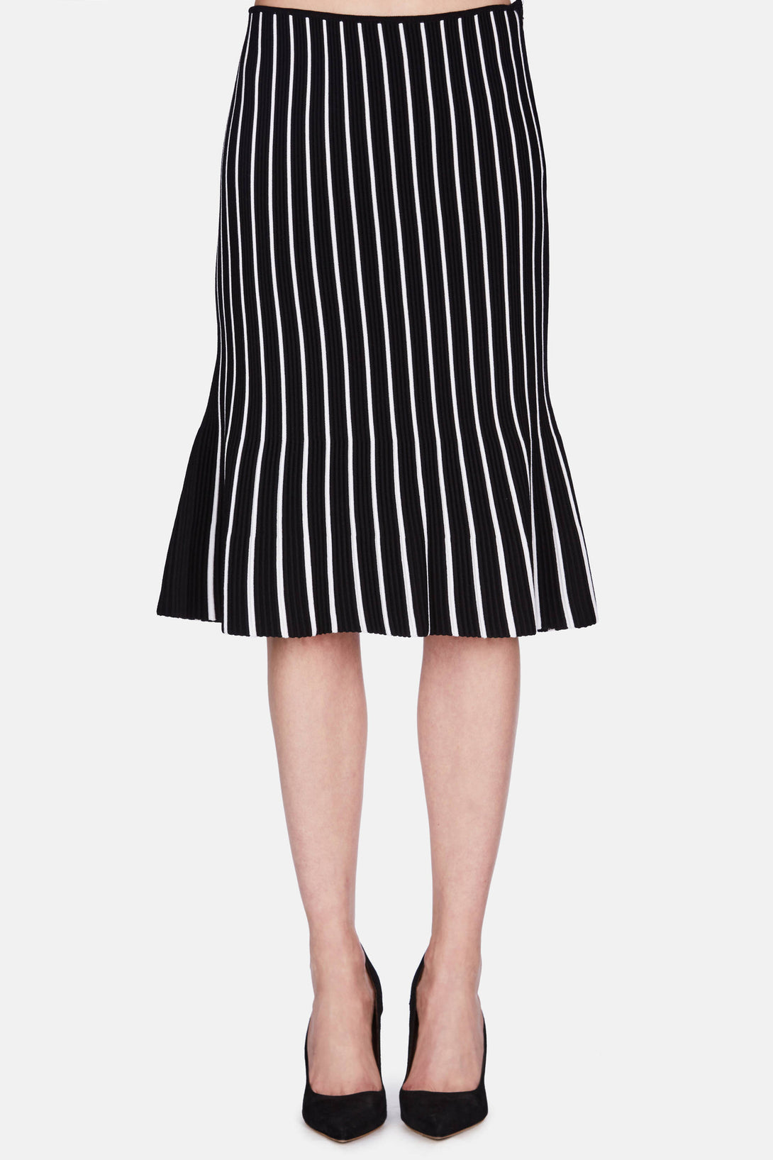Contrast Stripe Midi Skirt - Black