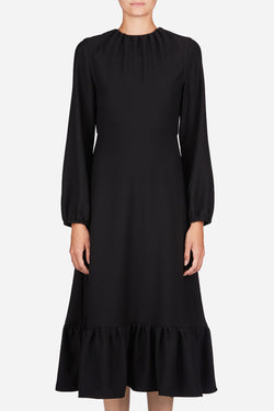 Midi Dress with Frill Hem - Black