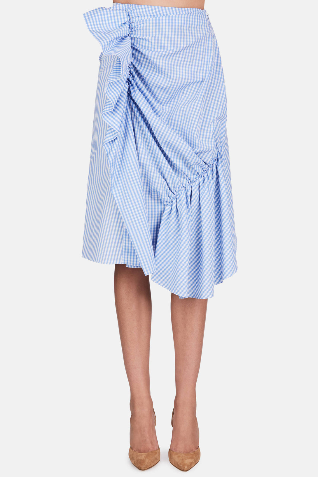 Patchwork Gathered Skirt - Blue/White