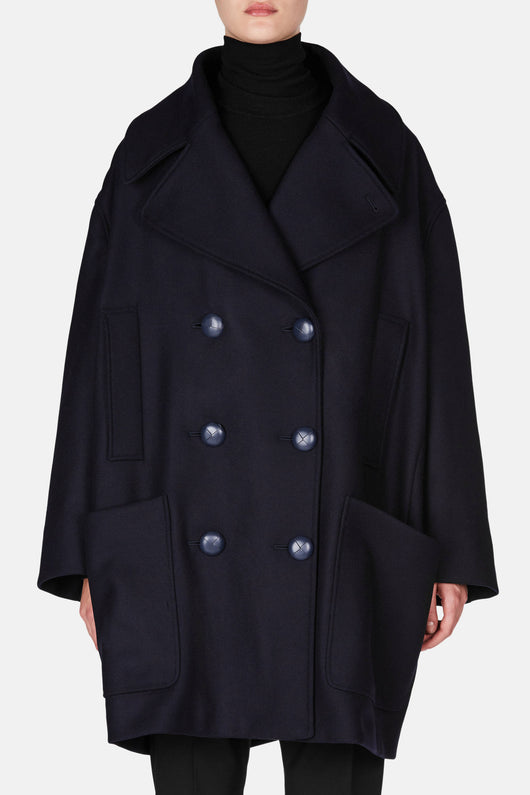 Oversized Double Breasted Coat - Navy