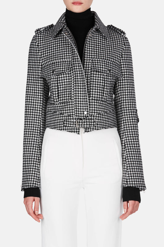 Houndstooth Jacket with Patch Pockets
