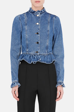 Ruffle Jacket - Washed Indigo