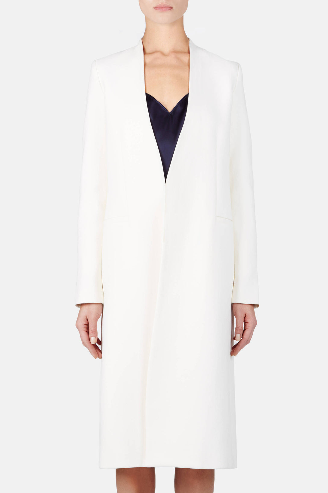 Jacket 01 Collarless Long Jacket - Ivory
