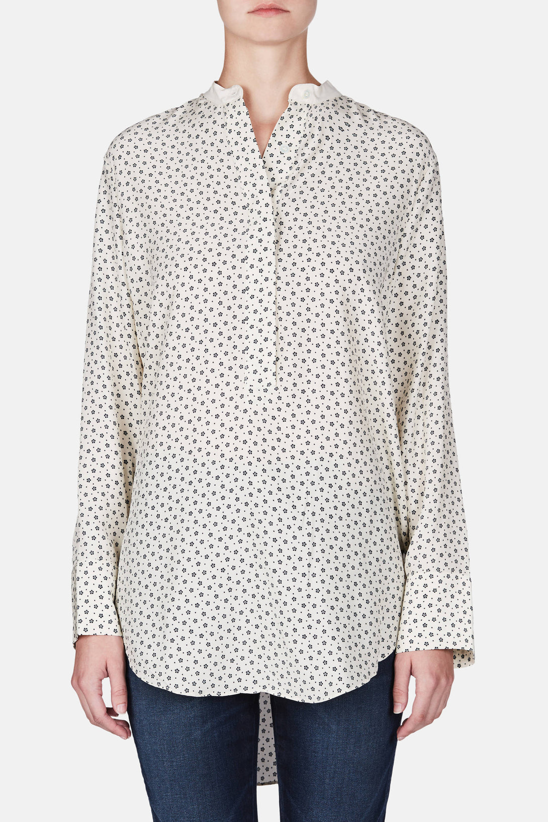 Collarless Tunic - Ivory/Black