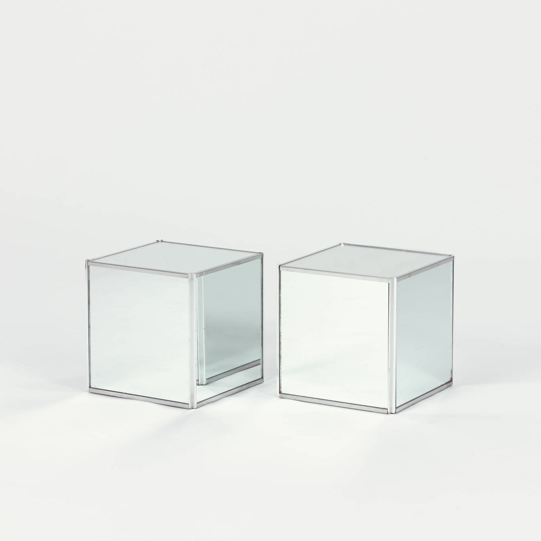 Pair of Mirrored Cube Tables