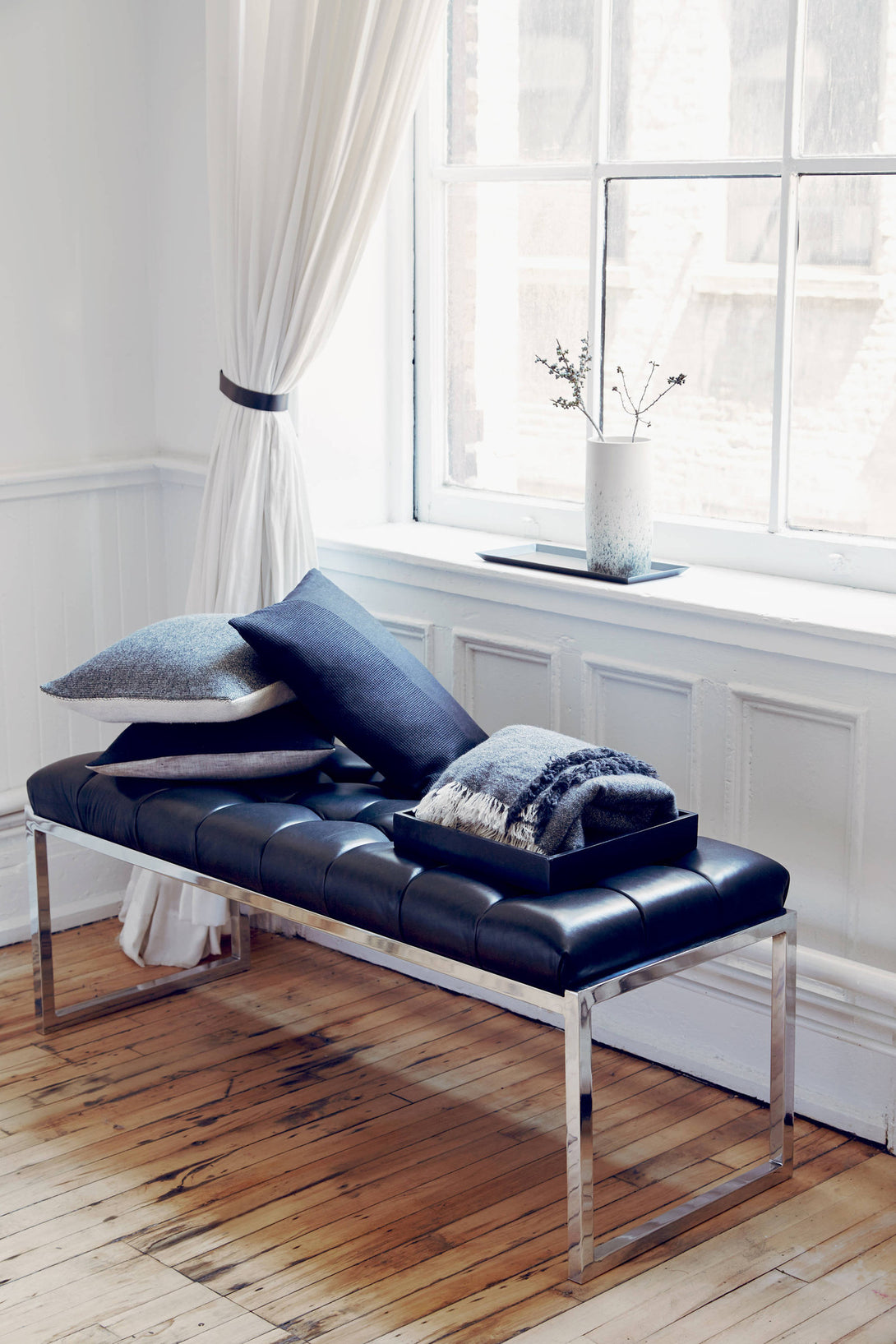 Black Leather Tufted Bench The Line