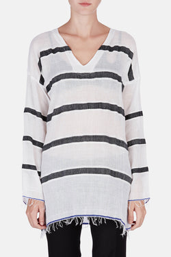 Bethany V-Neck Tunic - Charcoal