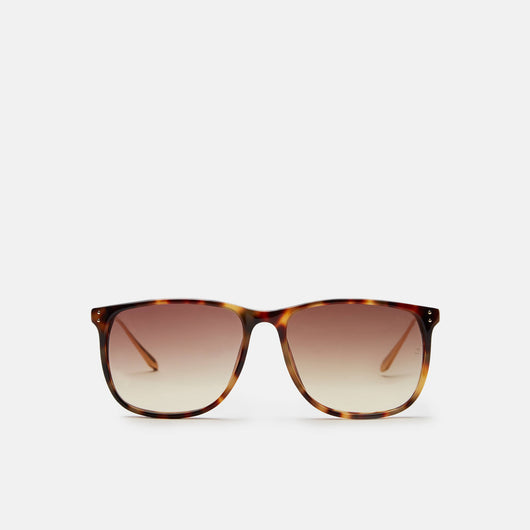 Slim D-Frame Sunglasses - T-Shell/Yellow Gold/Brown Grad Lens