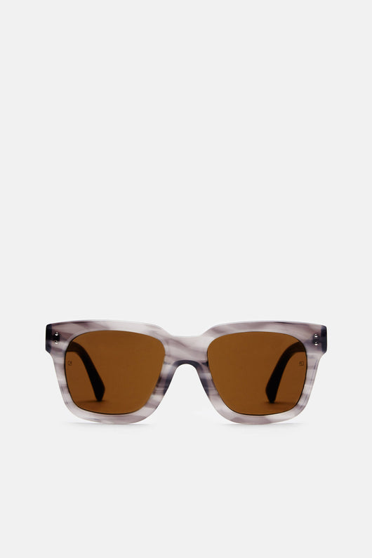 Iconic D-Frame Sunglasses - Grey Mist/Green Lens